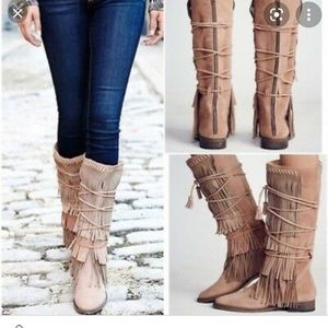 Songbird fringe boots by free people size 9
